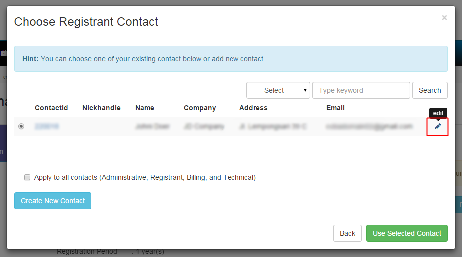 3. Choose Contact to Edit