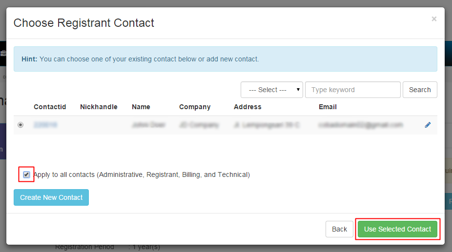 5. Use Selected Contacts