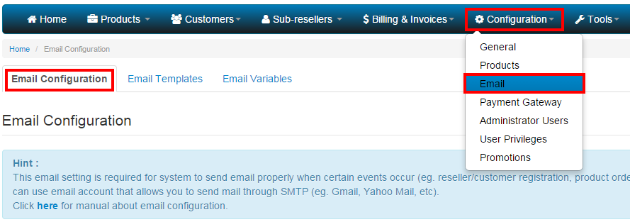 email - config
